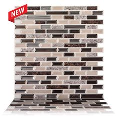 Tic Tac Tiles 5-Sheet Peel and Stick Self Adhesive Removable Stick On Kitchen Backsplash Bathroom 3D Wall Sticker Wallpaper Tiles in Como Marrone