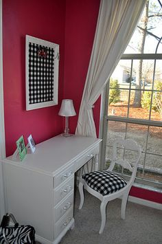 pink and black bedroom girls bedroom w/ white furniture...like the matching chair and bulletin board with fabric.