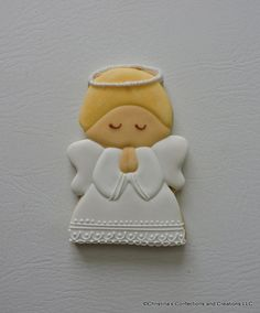 Large Praying Angel Decorated Sugar Cookie for Christmas or Religious events ( Christmas Sugar Cookies, Holiday Cookies, Christmas Treats, Christmas Baking, Angel Cookies, Baptism Cookies, Bakery Box, Cream Cheese Cookies, Cookie Favors