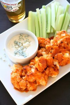 Buffalo cauliflower...for those days that you want wings, but feel like you should eat your vegetables