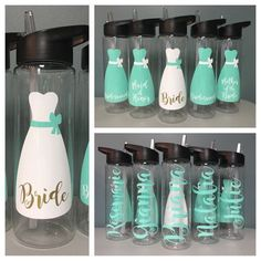 Bridesmaid Gift - Wedding Water Bottle - Bridal Party Bottles - 24 oz BPA Free Tritan Bottle - Custom Wedding Bottles - Personalized Bottle #weddings #bridesmaids