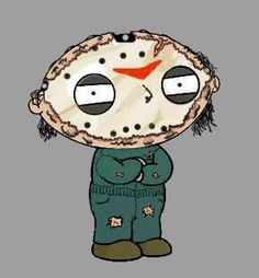 Stewie Griffin as Jason Voorhees Scary Movies, Horror Movies, Family Guy Cartoon, Zombie Cartoon, Stewie Griffin, Horror Fiction, Horror Icons, Jason Voorhees, American Dad