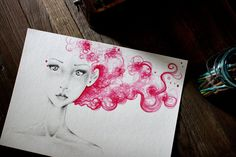 Watercolor Painting OOAK Fashion Illustration Art Original Watercolor Painting & Pencil Drawing Pink Women Pink Hair Unique Face Wall Art