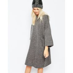 Monki Oversized Knitted Dress With Pocket Detail (83 CAD) ❤ liked on Polyvore featuring dresses, grey, pocket dress, grey dress, monki, gray dress and round neck dress