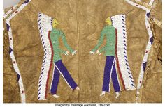 American Indian Art:War Shirts/Garments, A SIOUX PICTORIAL BEADED HIDE JACKET. . c. 1890. ... American Indian Art, Native American Art, American Indians, Sioux, Eagle Feathers, Beaded Jacket, Native American Beadwork, Seed Beads, Auction