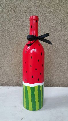 Items similar to Upcycled Watermelon Wine Bottle on Etsy Beer Bottle Crafts, Plastic Bottle Crafts, Wine Bottle Art, Diy Bottle, Water Bottle, Watermelon Wine, Painted Glass Bottles, Decorated Bottles, Painted Jars