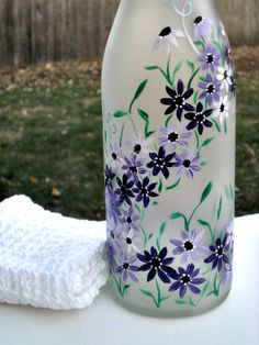 Recycled Frosted Wine Bottle,  Dish Soap Dispenser,  Oil & Vinegar Bottle Hand Painted Purple Flowers