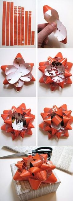So cool diy bows out of your favorite classy wrapping paper ...