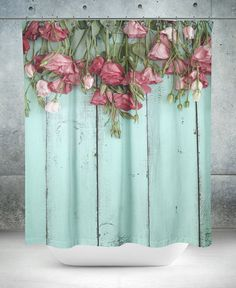 Shower Curtain Shabby Cottage Faux Wood Teal by FolkandFunky