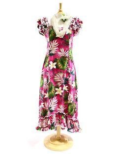 7a9da9f2851a PL 334-3688 Ruffle Long Muumuu [Pink] - Long Dresses - Hawaiian Dresses