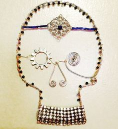 """""""She knows"""" 2017 Sugar skull Mixed media wire beads buttons  upcycled jewelry  Marna McManus   On Facebook @sunshowercreations Alex And Ani Charms, Sugar Skull, Mixed Media, Wire, Charmed, Buttons, Facebook, Beads, Bracelets"""