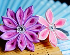 Set kanzashi hair ornaments by JuliyaRu on Etsy