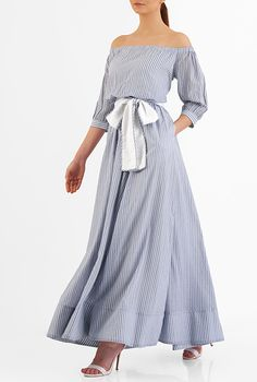 I <3 this Off-the-shoulder missing thread stripe cotton maxi dress from eShakti