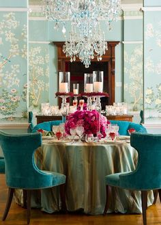 Beautiful blue dining room with hand painted Chinese wallpaper