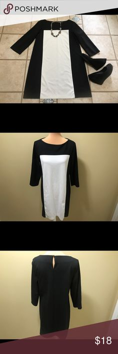 Apt. 9 Black and white dress Apt. 9 Black and white dress. Smoke free, pet free home. Pre-loved condition. Some piling, priced accordingly. Size large; fits like 8-10 for more relaxed fit or size 12-14 for tighter fit. Apt.9 Dresses