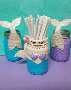 Mermaid Party Decorations, Mermaid Mason Jar Centerpiece, Mermaid Decor, Mermaid Centerpiece, Mermaid Baby Shower, Mermaid, Mermaid Birthday Little Mermaid Birthday, Little Mermaid Parties, Mason Jar Centerpieces, Baby Shower Centerpieces, Little Mermaid Centerpieces, Mason Jars, Mermaid Diy, Baby Mermaid, Mermaid Birthday Decorations