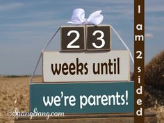 """Baby/pregnancy countdown blocks. Baby Shower gift. -""""weeks until we're parents.""""  Shower hostess gift. Photography prop. BLUE,Brown, & WHITE"""