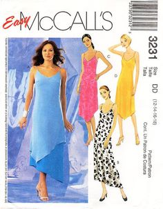 Sz 12/14/16/18 - McCalls Dress Pattern 3231 - Misses' Pullover Slip Dresses in Two Lengths