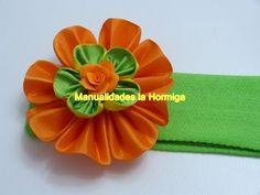 modelos de flores en cinta gross para decorar accesorios para el cabello - YouTube