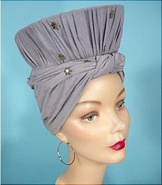 1940s Gray Silk Nubby Jersey Turban Hat with Snood Back owned and worn by Anita Loos (1888-1981) an American screenwriter, playwright and author.