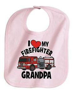I love my firefighter grandpa fireman rescue boy or girl baby infant bib new custom great gift unisex on Etsy, $6.25
