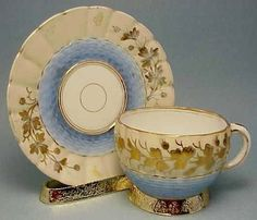 Antique Pale Blue Wave Gold Gilt Leaf Trim manufactured Germany Tea Cup Vintage