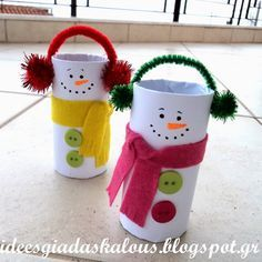 TOILET PAPER ROLL SNOWMAN: Toilet Paper Rolls, Egg Cartons bottoms (for hats), Orange Construction Paper, Multicolored Felt, Wiggly Eyes, Black Maker, White & Black Paint, Paintbrush, Glue