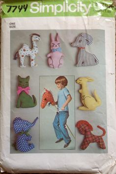 Simplicity 7744 1970s Hobby Horse Pattern Stuffed Animals Pattern Camel, Cat, Elephant, Pony, Kangaroo, Bunny, Dog vintage toy sewing pattern by mbchills