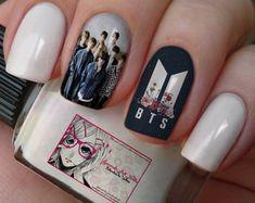 Cute Nail Art, Cute Nails, Pretty Nails, Korean Nail Art, Korean Nails, K Pop Nails, Army Nails, Nail Manicure, Nail Polish