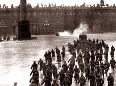 (Bolsheviks storming the Winter Palace to oust tsar Nicholas II, October 1917)