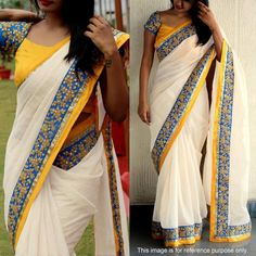 Buy Off White Chanderi Cotton Saree for womens online India, Best Prices, Reviews - Peachmode
