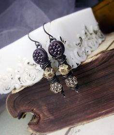 Antique Button Earrings  Rustic Assemblage Wire by shipwreckdandy