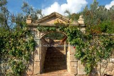 Vine-covered archway leading to luxury home in Chianti, Italy