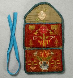 Embroidered needlework purse dated 1774
