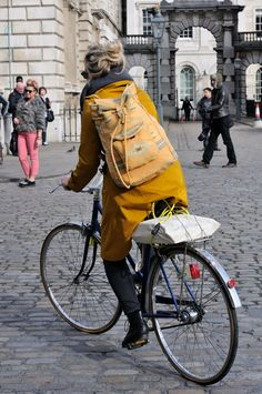 Mustard coat for chilly days.