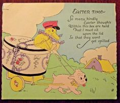 """Vintage Easter Greeting Card, Duck Delivering """"Easter Thoughts"""" in a Hat Box"""