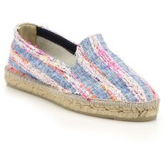 Manebi Ibiza Tweed & Denim Stripe Espadrille Flats ($150) ❤ liked on Polyvore featuring shoes, flats, apparel & accessories, multi, flat pumps, neon shoes, espadrilles shoes, espadrille flats and neon flats