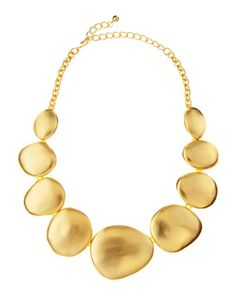Matte Golden Circle Necklace by Kenneth Jay Lane at Last Call by Neiman Marcus.