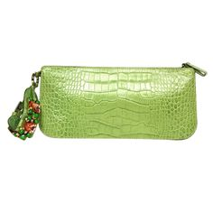 VALENTINO Green Embossed Crocodile Wristlet Clutch With Jewels   From a collection of rare vintage handbags and purses at http://www.1stdibs.com/fashion/accessories/handbags-purses/