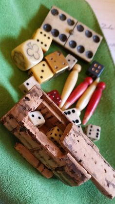 Collection of Antique Bone Glass Metal and Wood Gaming