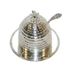 Check out this item at One Kings Lane! Silver-Plated Honey Pot w/ Liner & Ladle