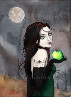 Gothic Witch Fine Art Print 'The Widow' Fantasy Art by Molly Harrison 9 x 12
