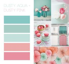 Great color scheme!  Dusty aqua, minty, and pink!
