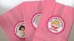 Disney Princess Customized Personalized Goodie Bags Birthday party thank you favors that match my cupcake toppers