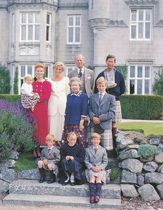 Queen Elizabeth II (c) with Sarah, Duchess of York, holding Princess Beatrice, Princess Diana, Prince Philip, Prince Charles, Peter Phillips, Prince William, Zara Phillips, Prince Harry -- at Balmoral Castle