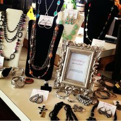 Really like this idea! A cute picture frame with hostess or opportunity info. Used with your jewelry display at shows.