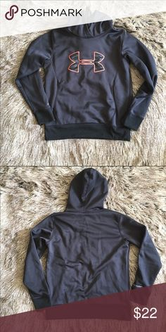"UnderArmor sweatshirt Black Under Armour sweatshirt. Bright orange symbol on the chest. Hooded. Front pocket. Length: 35"". Bust: 20.5"". Sleeve length: 25"". No size tag, but I'm pretty sure it's a size medium. Good condition. Under Armour Tops Sweatshirts & Hoodies"