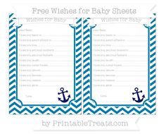 Cerulean Blue Chevron  Nautical Wishes for Baby Sheets