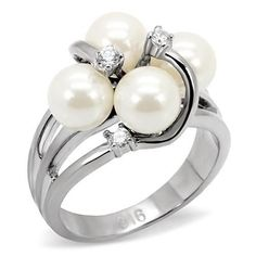Stainless Steel 4 White Pearl & CZ Polished Cluster Cocktail Women's Ring 5-10 #Cluster