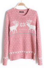 Pink Long Sleeve Fair Isle Deer Pattern Sweater $45.16 #SheInside